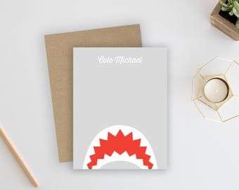 Shark Notecards. Shark Stationery. Boy Thank You Cards. Baby Thank You Cards. Little Boys. Personalized Stationery. Shark Birthday.
