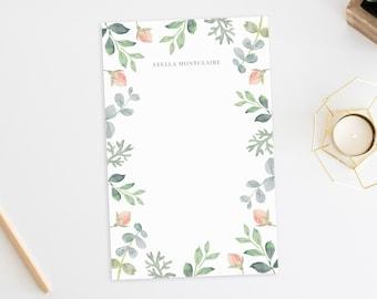 Personalized Notepad. Notepad. Note Pad. Personalized Stationery. Stationary. Personalized Gift. Stationery. Floral Wreath. Eucalyptus.