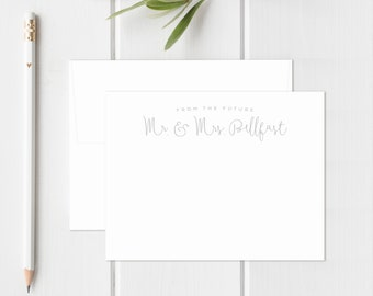 Wedding Thank You Cards. Personalized Wedding Stationery. From the Future Mr. & Mrs. Newlyweds. Wedding Shower Thank You Cards. Fancy Style.