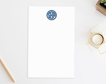 Personalized Notepad. Personalized Note Pad. Personalized Stationery. Stationary. Personalized Gift. Monogram Notepad. Monogrammed. Circle.