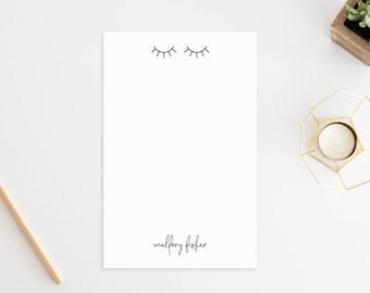 Personalized Notepad. Personalized Note Pad. Personalized Stationery. Stationary. Personalized Gift. Custom. Office. Fashion. Eyelashes.