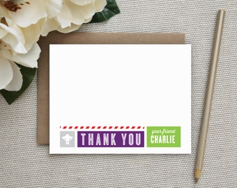 Buzz Lightyear Thank You Notes. Thank You Notes. Personalized. Stationery. Stationary. Kids. Buzz Lightyear Birthday Party. Toy Story.