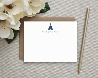 Personalized Stationery for Kids. Thank You Notes for Children. Baby Boy or Baby Girl Note Cards. Stationary. Custom Notecards. TeePee.