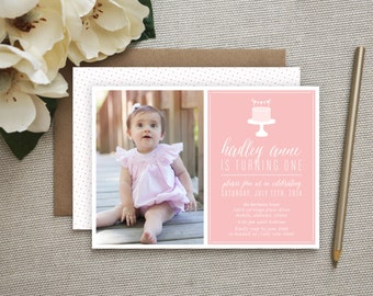 Pretty In Pink Invitation. Pretty in Pink Birthday. Shabby Chic Birthday Invitation. Vintage Pink Invite. Party Invite for Baby/Girls. Photo