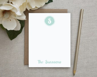 Personalized Stationery. Personalized Notecard Set. Personalized Stationary. Monogram / Monogrammed Stationery / Note Cards. Funky Circle.