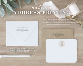 Return Address Printing | Matching Stationery Envelopes for Personalized Stationery Sets.