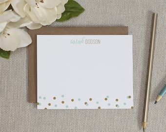 Personalized Stationery. Personalized Stationary. Personalized Note Cards / Notecards. Modern Dot Stationery. Gift for Her. Note Card Sets.