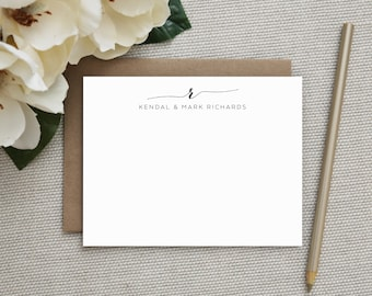 Wedding Thank You Cards. Wedding Thank You Notes. Personalized Stationery. Notecard Set. Stationary. Monogram Stationery. Note Cards. Swash.