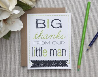 Little Man Thank You Cards. Personalized Thank You Stationery for Kids. Little Boy or Baby Boy Thank You Notes. Personalized Stationery.