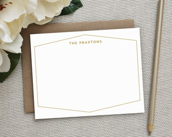 Personalized Stationery. Personalized Notecard Set. Personalized Stationary. Note Cards. Personalized. Stationery. Sets. Chic Hex Border.