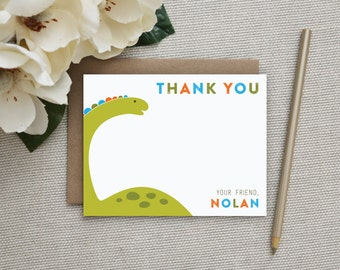 Personalized Stationery. Thank You Notes for Kids. Dinosaur Stationery. Dinosaur. Kids Thank You Card. Note Card. Personalized. Stationary.