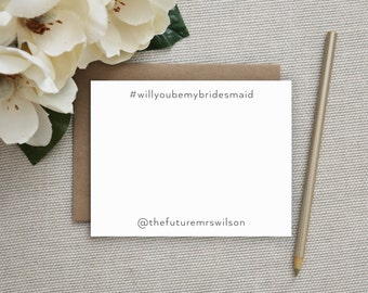 Will You Be My Bridesmaid Card. Hashtag Notecards. Hashtag Stationery. Wedding Stationery. Stationary. Unique. Clever. Engagement. Funny.