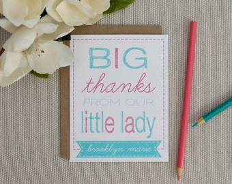 Little Lady Thank You Cards. Personalized Thank You Stationery for Kids. Little Girl / Baby Girl Thank You Notes. Personalized Stationery.
