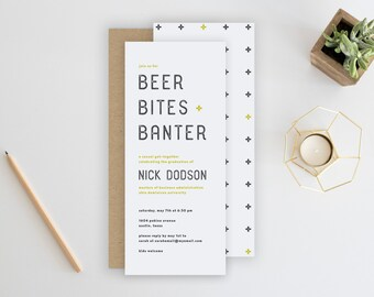 Beer Bites Banter Party Invitation. Cocktail Party Invitation. Guys Party Invitation. Minimalist Invitation. Beer Party. Invite.
