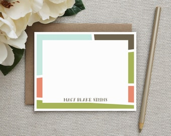 Personalized Stationery. Personalized Notecard Set. Personalized Stationary. Note Cards. Personalized. Stationery. Set. Color Block Design.