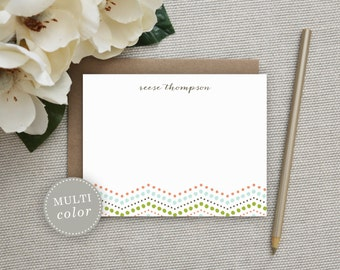 Personalized Stationery. Personalized Notecard Set. Personalized Stationary. Note Cards. Personalized. Stationery. Sets. Chevron Dot.