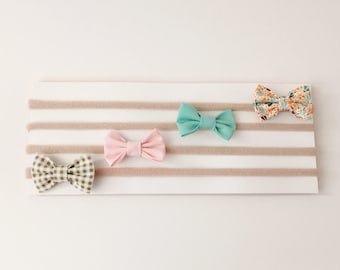 Mini bow headbands, baby headband, small bow headband, newborn headband, baby girl headband