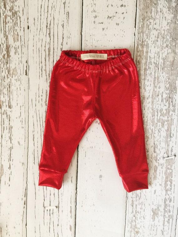 05e96c956f068 Metallic red baby leggings baby leggings valentines day | Etsy