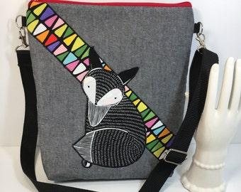 HIPSTER~FOX Applique~CROSSBODY Bag~Black & White Fox~Crossbody Bag~Quilted Shoulder Bag~Travel Bag~ Bags and Purses~Handbags~Fabric Bag