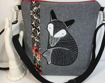 FOX APPLIQUE~CROSSBODY Bag~Aztec Design~Shoulder Bag~Travel Bag~ Bags and Purses~Handbags~Handmade~Fabric Bag