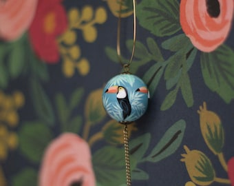Toucans pattern hand painted necklace