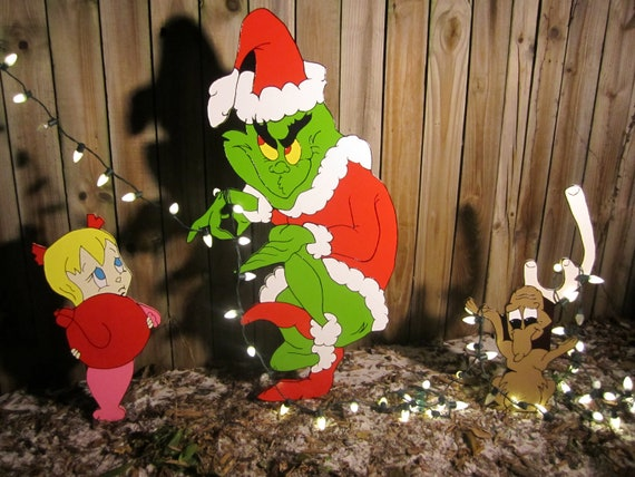 Grinch Yard Art Grinch And Max Are Stealing Christmas Decorations Outdoor Wood