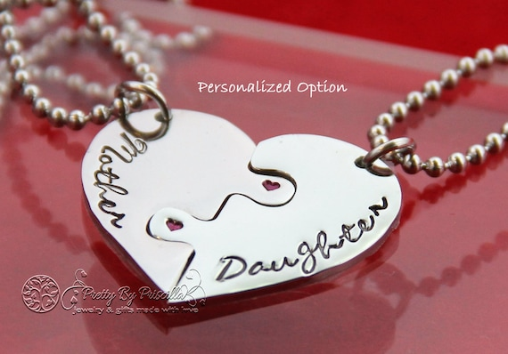 Mother daughter necklace set-Mother and daughter jewelry-THREE Piece HEART Jigsaw Puzzle Necklace Set Made of Stainless Steel wGlossyFinish