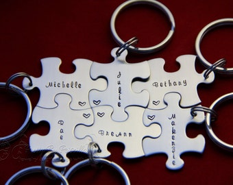 Puzzle Piece Keychain 15/each Jewelry Set Gift for friends, Hand Stamped Add as many pieces as needed and they all fit together!