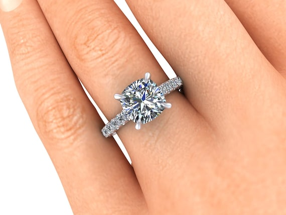 Moissanite Engagement Ring Moissanite and Lab Created Diamonds Ethical Jewelry