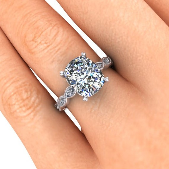 Vintage Inspired Moissanite Engagement Ring Elongated Cushion Cut Moissanite 10x8 Mm 3 4 Carats Platinum And Diamonds