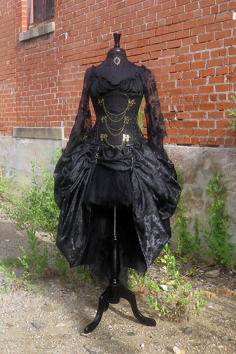 2c881ec47c Gothic Hi Low tulle SKIRT with Bustle Over-skirt for Halloween | Etsy