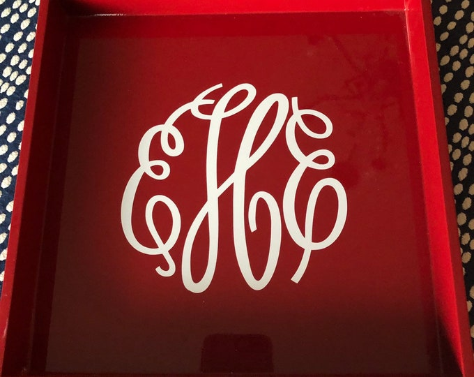 Monogrammed Laquered 12x12 tray