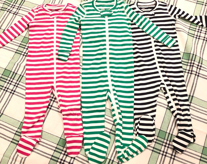Striped /solid monogramed pajamas