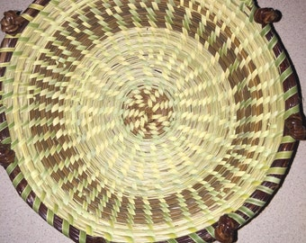 Sweetgrass Bowl Basket with Pine Knots
