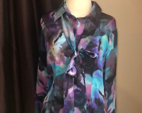 Escada Blue And Purple Watercolor Silk Blouse with detachable Pussy Bow Tie size 38