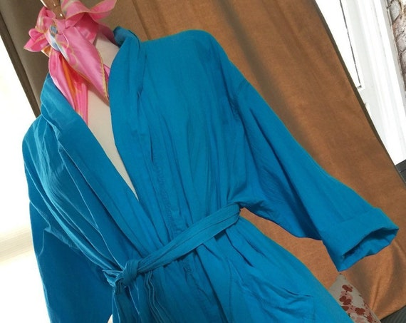 Carole Little Swim New Wave Raver bright turquoise blue 100% cotton Vintage Beach Cover Up Robe, Designer poolside fashion Resort Wear