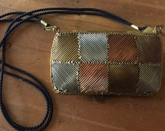 Vintage 70's Brutalist Mixed Metal Brass Copper Silver Pillow Purse Made in Mexico Stunning!