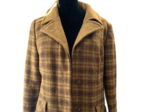 Vintage Pendleton Coat, Boxy Tailored Autumn Brown Plaid Virgin Wool Fall Jacket, trending knock around Weekends or around Campus look