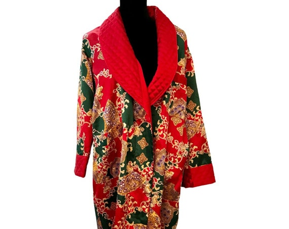 Vintage Victoria's Secret Red Satin Robe, Kimono Style Floral Satin with Flannel Interior & Regal Quilted Red Cuffs and Collar