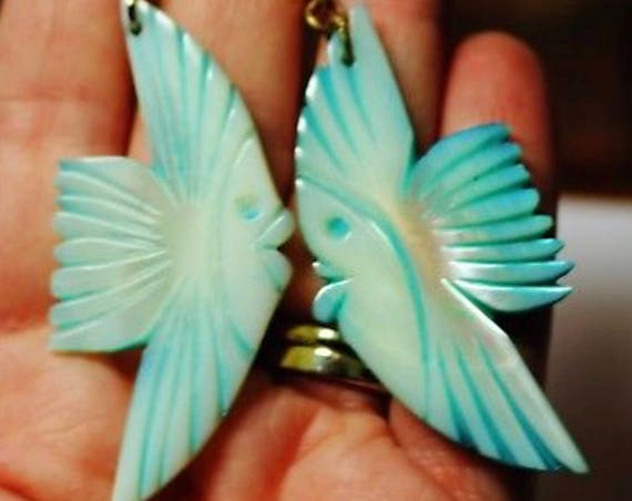 Vintage Bright Blue Dyed Tropical Shell Exotic Fish Earrings Trending Fashion!