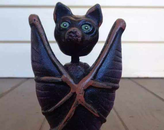 An Antique Cast Iron Bat Gargoyle Bobble Head To scare Away bad Animals, Birds & Vibes, Goth Decor