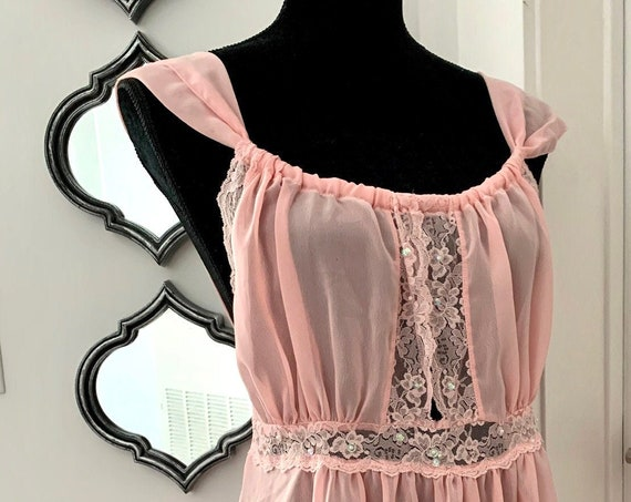 Fredricks of Hollywood Nightie, Pale Pink Pinafore Style Backless Vintage Neglige Night Gown