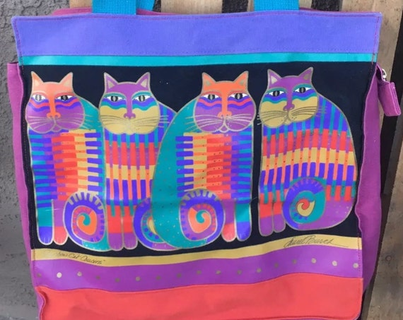 Absolutely Wonderful Huge Laurel Burch  BOHO Tribal Festival RAinbow Cat Cousins Tote Bag