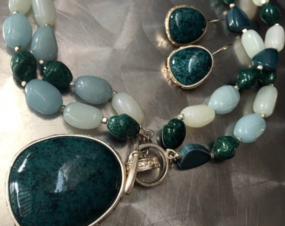 80s Asian Art Deco Statement Necklace & Earrings Set Signed Monet Jade Costume Jewelry