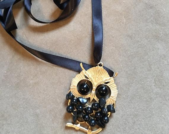 Vintage Gold & Black Beaded Owl Pendant