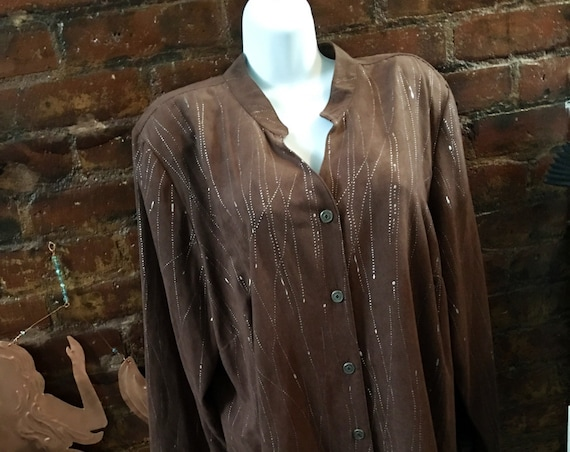 Vintage Erin London ultra suede long shirt,  brown with silver drizzle 80s oversized New Wave Fashionista Vintage Blouse