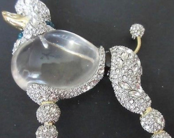 ALEXIS BITTAR Huge Sparkly Lucite Jelly Belly Strolling French POODLE Fashionista Runway Bling Necklace convertible Doggie Pin