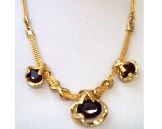 Unusual Abstract Modern Substantial Brown Rhinestone Gem & Gold Tone Chain Gawdy Statement Necklace