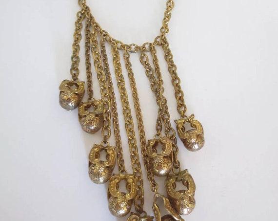 Vintage Boho Tribal Charm Necklace, 80s Glam Oversized Highly Ornate Filigree Ball Repousse Goldtone Charm Choker Statement Necklace