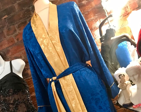 Vintage Christian Dior Floor Length Royal Blue and Yellow Satin Regal Gothic 1940s Deco Style Hollywood Glamour Kimono Robe Duster Lounger